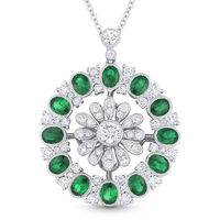 3.09ct Oval Cut Emerald & Round Cut Diamond Pave Statement Pendant in 18k White Gold w/ 14k Chain Necklace