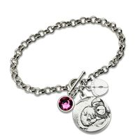 Wholesale Personalized Photo-Engraved Mother Bracelet Sterling Silver Birthstone Bracelet Mother Jewelry $58.23