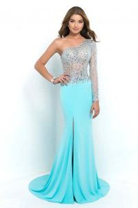 Blush 9992 Aquamarine Single Sleeve Strapless Long Prom Dresses