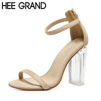 HEE GRAND Sandals Woman Transparent Crystal Heel Sandals Elegant All-matach Women Summer Fashion Zip Shoes Plus Size 40 XWZ3475 £53.44