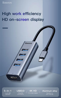 Baseus 5 in 1 Type-c to 4 Female USB 3.0 4K HD Display Smart Adapter Hub Docking Station for Smartphone Tablet