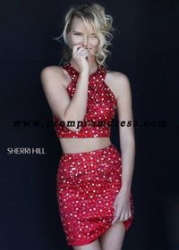 Red Sherri Hill 32314 Beaded Two Piece Party Dress 2015