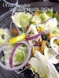 This salad tastes just like the salad from Olive Garden! Thanks SixSistersStuff! There is also a link for a LONG list of other copycat restaurant favorites. Now I can't find it. It's worth your time to look if you love them as much as I do. <3