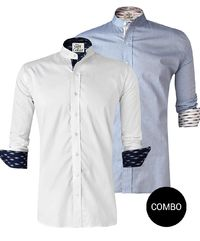 BLUE CHAMBRAY AND WHITE SATIN IKKAT ART MANDARIN COLLAR SHIRT COMBO �'�2899.00