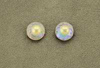 10 mm Round Aurora Borealis Crystal and Creme Pearl Magnetic Non-Pierced Earrings $36.00 Designed by LauraWilson.com