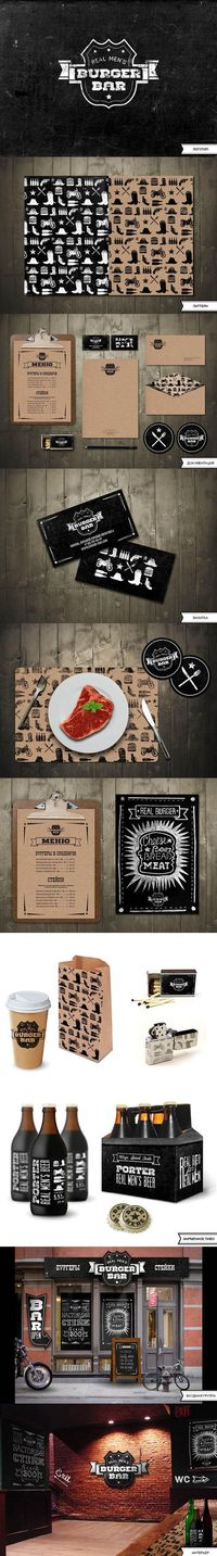 REAL MEN'S BURGER BAR by Masha Solyankina #identity #packaging #branding #marketing PD