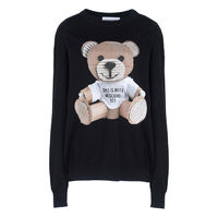 Moschino Paper Bear Womens Long Sleeves Sweater Black