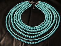 Plastic/Lucite Baby Blue Multistrand Beaded Necklace. $72.75