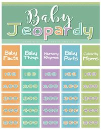 Baby Jeopardy Free printable baby shower games