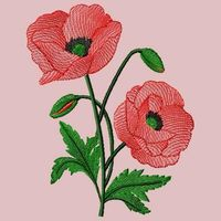 RED POPPY-EMBROIDERY DESIGN