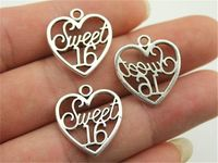 Pack of 10 Silver ' SWEET 16 ' Heart Charms. 19mm x 21mm. Gorgeous Metal Pendants for Jewellery. Perfect for Birthday Parties and Prom. £3.19