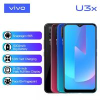 VIVO U3x CN Version 6.35 inch HD Waterdrop Display 5000mAh Face Unlock 13MP AI Triple Rear Cameras 4GB RAM 64GB ROM Snapdragon 665 Octa Core 2.0GHz 4G Smartphone