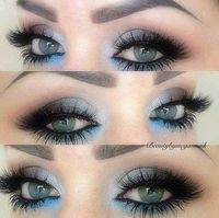 eye shadows, blue eyeshadow and blue eyes.