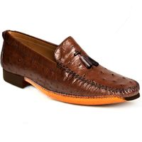 Johny Weber Handmade Fold Sole Loafers in Ostrich Leather $479.00