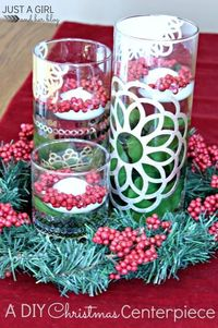 Your Christmas table will be stunning with the addition of this beautiful DIY Christmas Centerpiece!