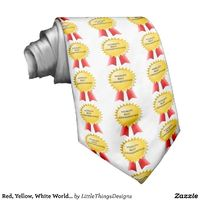"""Red and Yellow """"World's Best Grandfather"""" award tie"""