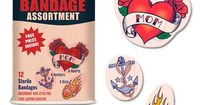 Tattoo BandAids...So cool! Cover up your boo boo with body art. Skin Art Sterile Bandage Assortment