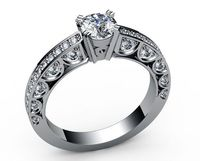 Unique Ring Engagement Ring Diamond Ring White Sapphire Bella channel-set pavé half moon trellis crafted in 18K Yellow or 18K White gold $1791.00