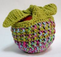 Crochet Apple Cozy--because I worry when my apples are not properly adorned. L.O.L.