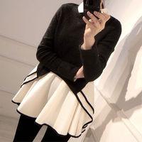 Black Long Sleeve Top White Chiffon Mini Shirt Dress