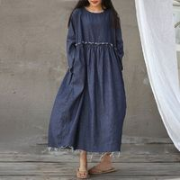 Blue denim dress, Round neck dress, long sleeve dress, plus size clothing, Oversized dress, Summer dress