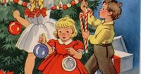 #ImDreamingOf decorating my tree with candy canes (Vintage Christmas card - Decorating the tree)