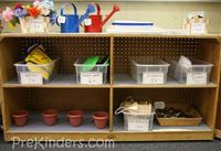 When my class took an interest in plants and flowers, I set up this Garden Shop for them. To make room in the classroom for this center, I cleared off an entire
