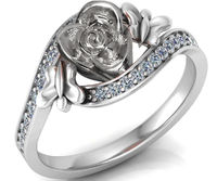 18K White Gold Lovers Ring Flower Ring Promise Ring Unique Engagement Ring Side Diamonds Floral ring Birthday Gift For Her $915.00
