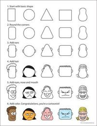 drawing cartoon faces to go with cartoon writing in work on writing
