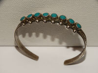 Navajo Sterling Silver & Turquoise Stone Cuff Bracelet. $115.00