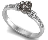 Silver Love Ring Flower Ring Promise Ring Unique Engagement Ring with Side Diamonds Floral ring Birthday Gift For Her $299.50