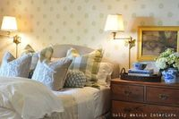 move in? don't mind if i do... LOVE the monogrammed pillows, the cozy bedding, & the traditional feel