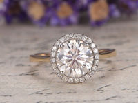 6.5mm Round Cut Moissanite Engagement Ring Diamond Wedding Band 14K Yellow Gold Diamond bridal ring promise ring stcking matching ring $641.00