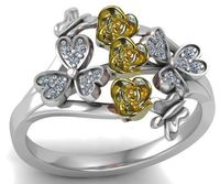 Two Tone Yellow & White 3 Rose Flowers Ring Promise Ring Unique Engagement Ring Birthday Gift For Her $798.00