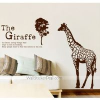 Description: Size : As show Category : Birds & Animals Wall Sticker Material : Vinly Wall Sticker Room :bedroom, living room, Office Color:Brown Includes:Tree, Giraffe, Words
