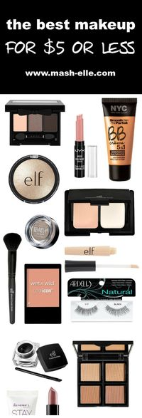 BEST MAKEUP PRODUCTS UNDER $5 1 e.l.f. Defining Eye Brush | 2 NYC Liquid Eye Liner | 3 e.l.f. Moisturizing Lipstick in Razzle Dazzle Red | 4 Ardell Glamour Lash