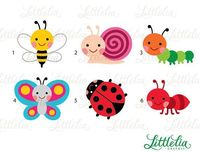 Garden bug cute digital clipart 14037 Instant by LittleLiaGraphic