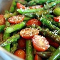 Asparagus and tomatoes. I made this exactly like the recipe, thinking it would be a bit simple and bland. Boy was I wrong! Sometimes simple ingredients can equal big taste. View the recipe details!