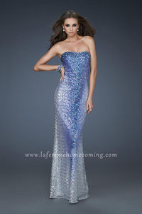 La Femme 17915 Sequin Fitted Strapless Long Prom Dresses Royal Blue for Cheap
