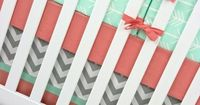Mint Arrows Baby Bedding Crib Set Mint Gray Coral by modifiedtot