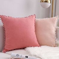 Pom Poms Trim Pillow Case Set $21.99