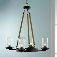 Medium Rope and Clear Glass Hurricane Chandelier
