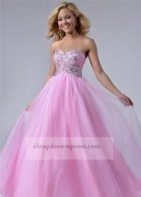 Cheap Pink Beaded Ball Gown Prom Dress 2014