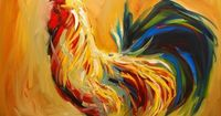 Yummy Rooster Painting - Yummy Rooster Fine Art Print