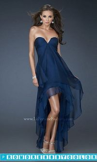 $144 Black Prom Dresses - Strapless Layered High-Low Dress by La Femme at www.promdressbycolor.com