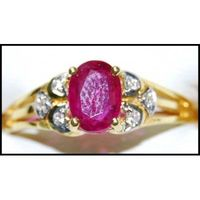 18K Yellow Gold Ruby Wedding Diamond Solitaire Ring [RS0206]