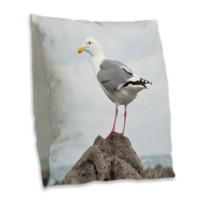 Gull On The Rock Burlap Throw Pillow