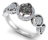 2 Tone 18K White gold Flower Ring Promise Ring Unique Engagement Ring with Side Diamonds Floral ring Birthday Gift For Her $975.00