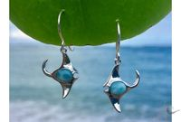 Manta Ray & Larimar Hanging Earrings (LAR-HE-1)