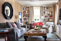 living room - love the gray sofa, over sized ottoman & mirror, ceiling to floor curtains and bookcases by jamie meares, via Flickr